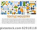 Textile industry banner with fabrics manufacturing icons and text 62918118