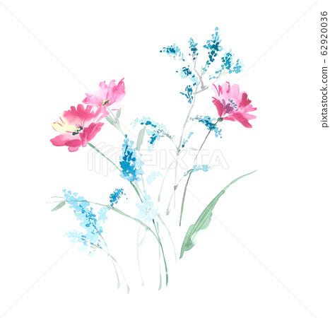 精緻的水彩手繪花卉素材 62920036