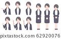 女性上班族穿着西装的姿势一套 62920076