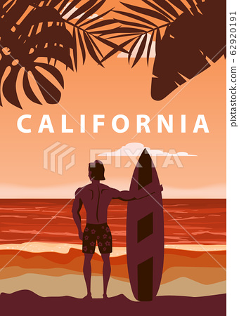 Surfer standing with surfboard on the tropical beach back view. California surfing palms ocean theme retro vintage. Vector illustration isolated template poster banner 62920191