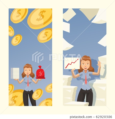 Successful woman in business career, female manager of profitable company, vector illustration 62920386