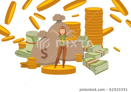 Rich woman with money fortune, successful female cartoon character, vector illustration 62920391
