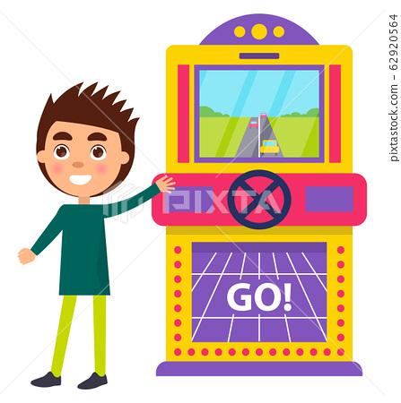 Boy Playing Racing Car Arcades Machine Vector 62920564