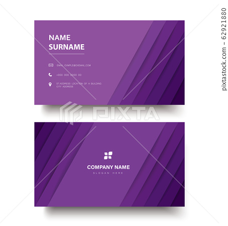 modern purple lines double sided business card template vector eps10 62921880