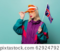 Style blonde woman in 90s sport suit with Great 62924792