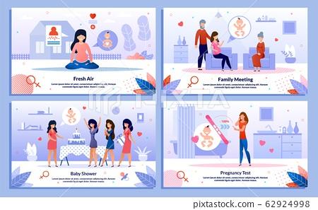 Happy Pregnancy Activities Flat Vector Banners Set 62924998
