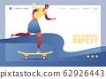 Young woman or teenage girl riding skateboard. 62926443