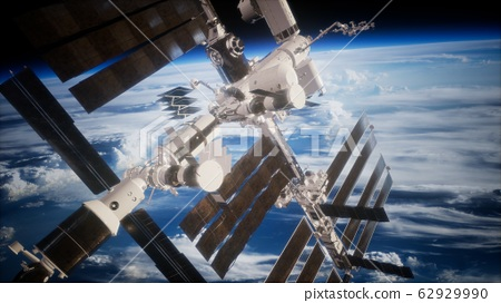 A view of the Earth and a spaceship. ISS is 62929990