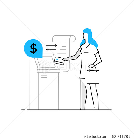 Woman withdraws money from an ATM. Family, 62931707