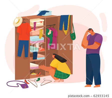 Life of Couple Choosing Clothes in Cupboard Vector 62933145