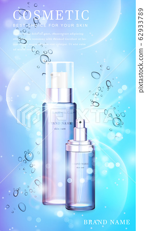 3D transparent glass cosmetic bottle with shiny glimmering background template banner. 62933789