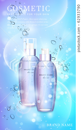 3D transparent glass cosmetic bottle with shiny glimmering background template banner. 62933790