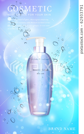3D transparent glass cosmetic bottle with shiny glimmering background template banner. 62933791