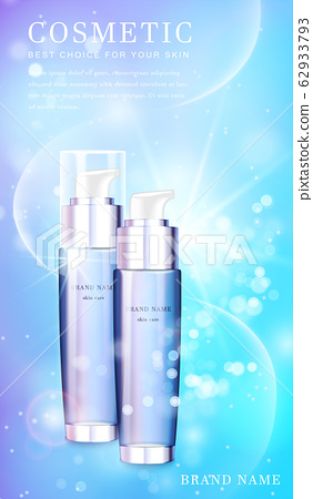3D transparent glass cosmetic bottle with shiny glimmering background template banner. 62933793