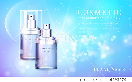 3D transparent glass cosmetic bottle with shiny glimmering background template banner. 62933794