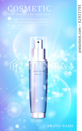 3D transparent glass cosmetic bottle with shiny glimmering background template banner. 62933795