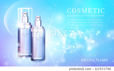 3D transparent glass cosmetic bottle with shiny glimmering background template banner. 62933796