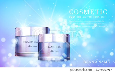 3D transparent glass cosmetic bottle with shiny glimmering background template banner. 62933797
