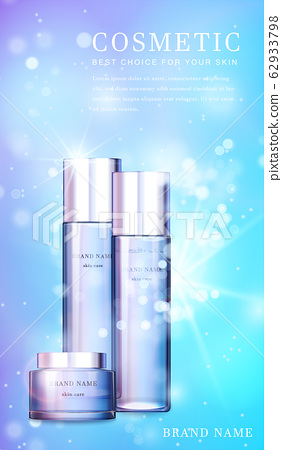 3D transparent glass cosmetic bottle with shiny glimmering background template banner. 62933798