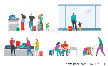 People with bags in comfortable airport terminal of aviation travel hand drawn vector illustration isolated on white. 62934081