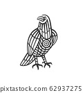Hand Drawn Totem Black Raven in Tribal Style. 62937275