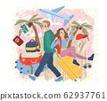 Couple traveling together with luggage. Travel concept. Vector cartoon illustration 62937761