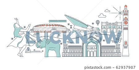 Typography word Lucknow branding technology concept. Collection of flat vector web icons. Asian culture travel set, architectures, specialties detailed silhouette. Doodle Indians famous landmarks. 62937987