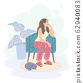 Pensive Young Woman in Armchair, Pot Plant and Cat 62940083