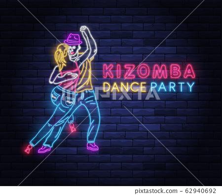 Kizomba dance party colorful neon banner 62940692