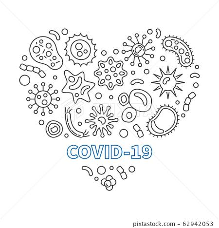 Covid-19 Corona Virus Heart vector outline illustration 62942053