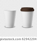 Vector 3d Realistic Disposable Opened and Closed with Lid Paper, Plastic Coffee Cup for Drinks Icon Set Closeup Isolated on Transparent Background. Design Template, Mockup. Front View 62942204