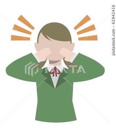 Illustration of a female student calling out loud to the surroundings 62942416