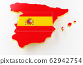 Map of Spain land border with flag. Spain map on white background. 3d rendering 62942754