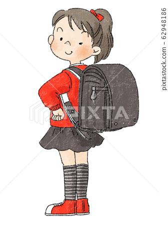 Elementary school students, school bags, girls, black school bags 62948186