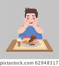 Big Fat Happy man enjoy eat sweet dessert 62948317