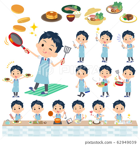 school boy Blue vest short sleeve_cooking 62949039