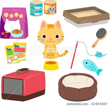 貓和貓的食物,玩具插圖集 62953667