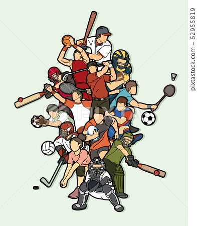 Sports Mix Sport players action Cricket Basketball Baseball Rugby Ice Hockey Volleyball Golf Football Soccer Badminton cartoon graphic vector 62955819