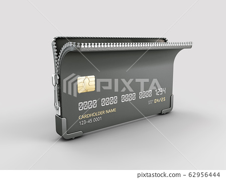 3d Rendering of Credit card with zipper clipping path included 62956444