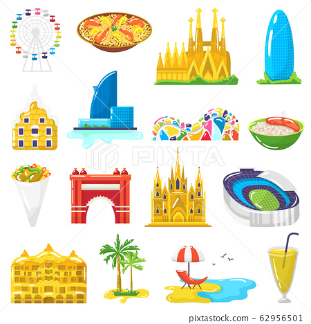 Spain travel tourist attractions, tourism in Barcelona vector illustrations, icons set isolated on white background 62956501