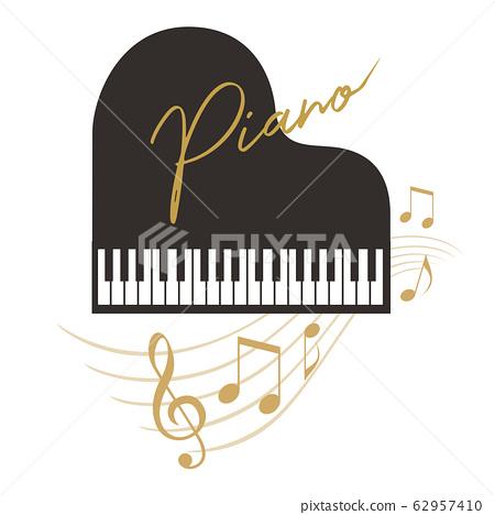 三角鋼琴和音符的可愛時尚剪影素材 62957410