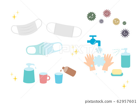 예방 바이러스 감기 꽃가루 알레르기 아이콘 세트 62957601
