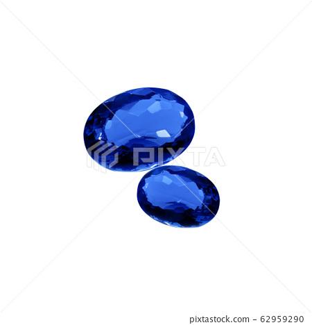 Royal blue kyanite gems on a white background 62959290