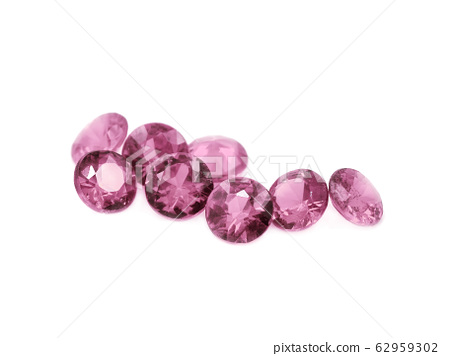 Pink tourmaline on a white background 62959302