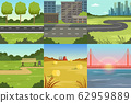 Collection of Sceneries of Urban and Natural Landscapes, Summer Backgrounds with River, Bridge, City Buildings Vector Illustration 62959889