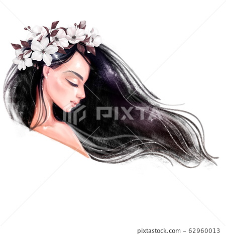 Beautiful young woman in flower wreath 62960013