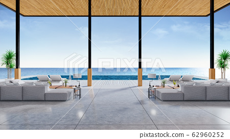 Relaxing summer, A modern beach lounge,sofa and sun loungers on Sunbathing deck and private swimming pool with  panoramic sea view at luxury villa /3d rendering 62960252