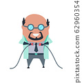 Mad professor in lab coat and dark rubber gloves. Crazy scientist laughing stereotype. Doctor research in a laboratory lab. Evil scientist. Vector illustration isolated on white background 62960354