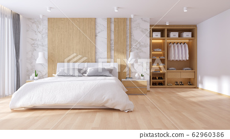 Modern  luxury interior of Bedrooms and dressing room interior design,3d render 62960386