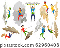 Boys and girl with bag climbing on a rock mountain with equipment. Extreme outdoor sports. Climbing the mountains. Vector illustration 62960408